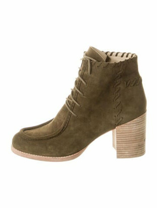 Stuart Weitzman Suede Lace-Up Boots Green