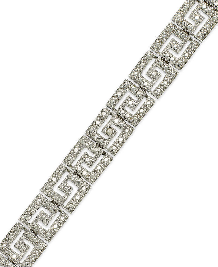 Macy's Sterling Silver-Plated Diamond Accent Greek Key Bracelet