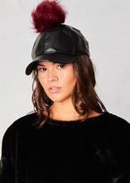 Missy Empire Sally Black Faux Leather Wine Pom Pom Cap