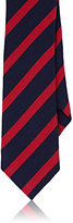 Alexander Olch MEN'S STRIPED COTTON JERSEY NECKTIE-NAVY, RED, NO COLOR