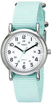 Timex Women's T2P0739J Weekender Silver-Tone Watch with Seafoam Green Nylon Band