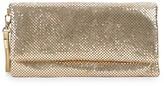 La Regale Mesh Metallic Foldover Clutch