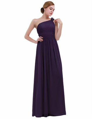 iEFiEL Women's Ladies Chiffon One-Shoulder Bridesmaid Dress Long Evening Prom Gown Dark Purple UK Size 14 /#10