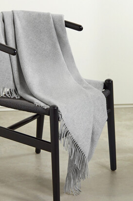 Johnstons of Elgin Icon Fringed Cashmere Throw - Silver