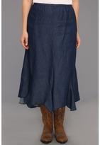 Roper Plus Size Hidden Garden Denim Gored Skirt (Blue) - Apparel