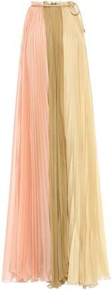 Alberta Ferretti Pleated Color-block Voile Midi Dress