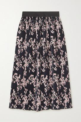 Paco Rabanne Floral-print Plisse-satin Midi Skirt - Black