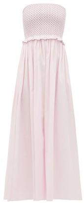 Loretta Caponi - Luisa Smocked Cotton Dress - Womens - Pink Multi