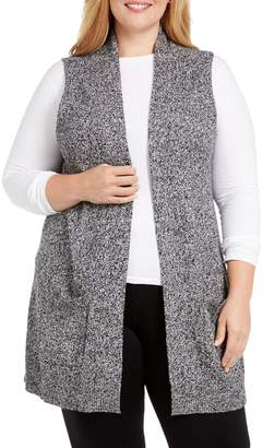 Karen Scott Plus Duster Cotton-Blend Sweater Vest