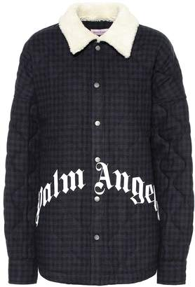 Palm Angels Logo checked wool-blend jacket