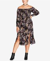 City Chic Trendy Plus Size Off-The-Shoulder Midi Dress