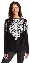 Buffalo David Bitton Women's Betrim Fuzzy Animal Print Pullover Sweater