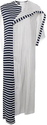 J.W.Anderson striped asymmetric cape dress
