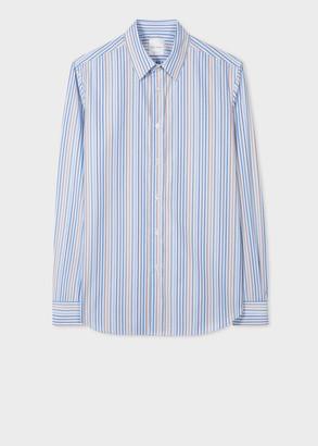 Paul Smith Men's Tailored-Fit Blue Stripe Cotton Shirt With Artist Stripe Cuffs