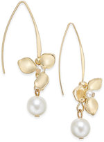 INC International Concepts Catherine Stein for Gold-Tone Imitation Pearl Flower Drop Earrings, Only at Macy's