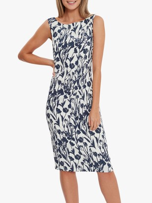 Gina Bacconi Erline Floral Print Shift Dress, Navy/White