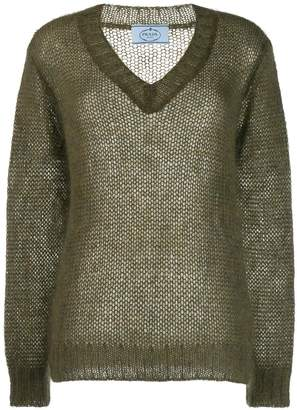 Prada mohair V-neck cable knit top