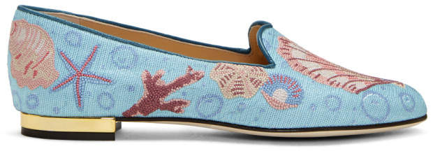 Charlotte Olympia Blue Oceanic Slippers