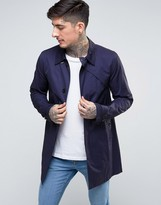 Pretty Green Mayfair Trench Coat In Navy