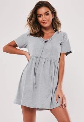 Missguided Grey Lace Up Front T Shirt Dress