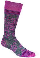 Bugatchi Mercerized Baroque Floral Mid-Calf Socks