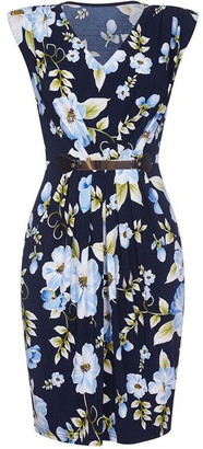 Yumi Tropical Floral Belted Dress
