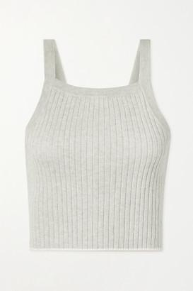 Skin Mariya Cropped Ribbed Cotton And Cashmere-blend Tank - Stone