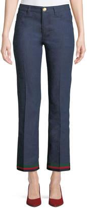 Gucci Rinsed Denim Straight-Leg Jeans with Ribbon Hem & Bunny Patch