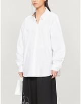 we11done WE11 DONE Zip-appliqué oversized woven shirt