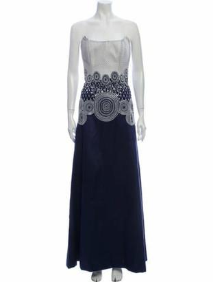 Joanna Mastroianni Silk Long Dress Blue