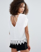 Dex Caged Back Blouse With Lace Detail