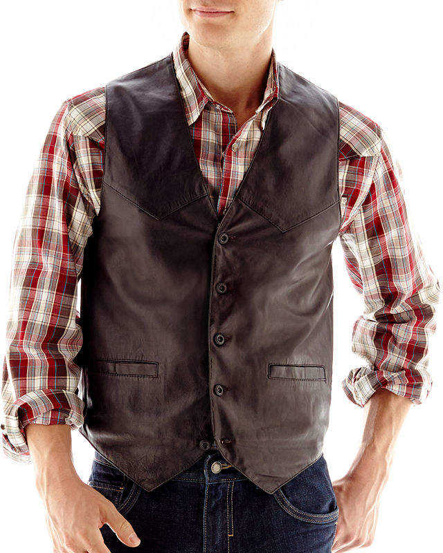 JCPenney Excelled Leather Excelled Lambskin Leather Vest