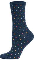 Hot Sox Pindot Hearts Printed Trouser Socks