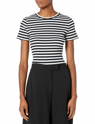 Theory Women's Short Sleeve Striped Tiny Tee