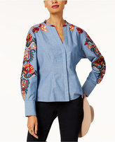 INC International Concepts Anna Sui Loves Cotton Embroidered Shirt, Created for Macy's