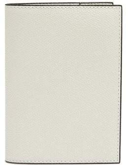 Valextra Grained-leather Passport Holder - Mens - White