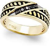 Macy's Men's Black Diamond Antique-Look Band (1/4 ct. t.w.) in Black Enamel and 10k Gold