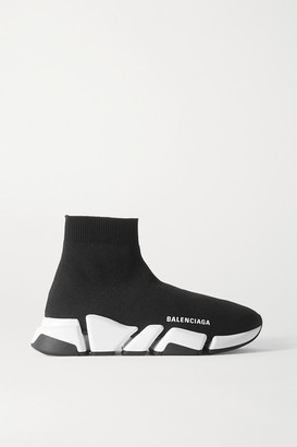 Balenciaga Speed 2.0 Logo-print Stretch-knit High-top Sneakers - Black