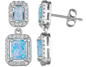 Sterling Silver Lab-Created Opal Drop Earrings