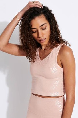 Beyond Yoga Shiny Leopard Cropped Tank Tinted Rose Iridescent Clear Leopard - XS