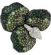 Kenneth Jay Lane Gunmetal and Silver-Plated Green Flower Brooch