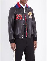 Gucci Appliqué-detail Leather Bomber Jacket