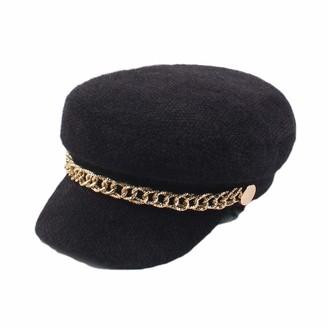 Wksee Hats Ladies Warm Bobble Hat Aviator Pilot Cap Adult Women Hats for Women Unisex Beanie Cappretty Winter Hat Female Retro Chain Buckle Fashion Wild Flat Peak Cap Navy Hat
