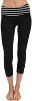 Hard Tail Striped Flat Waist Capri in Charcoal/Black