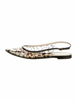 Gianvito Rossi Animal Print Slingback Flats Black