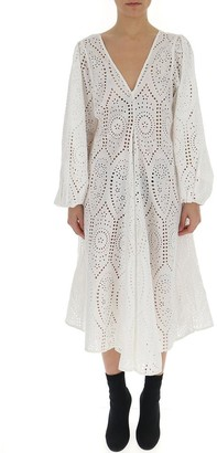 Ganni Broderie Anglaise Flared Dress