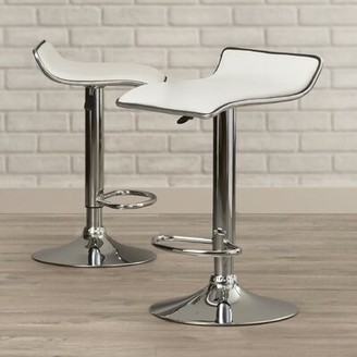 Ebern Designs Renea Adjustable Height Bar Stool Upholstery: White