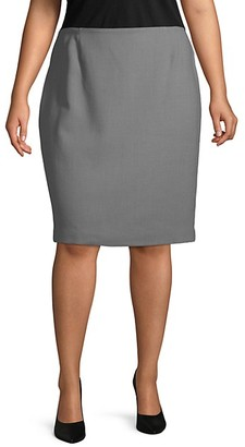 Lafayette 148 New York Plus Wool Pencil Skirt