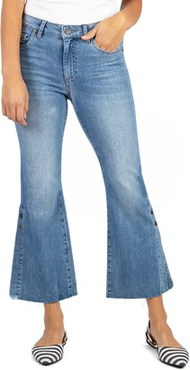 KUT from the Kloth Kelsey High Waist Slit Hem Ankle Kick Flare Jeans