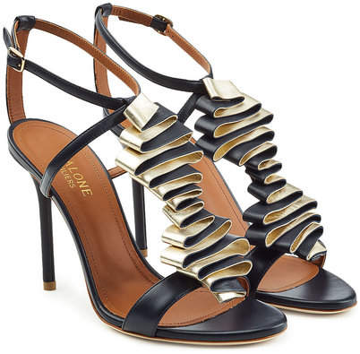 Malone Souliers Leather Sandals with Metallic Ruffles